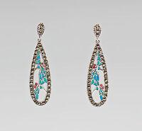 9907285 925er Silber Ohrringe Emaille Markasiten 5x1,5cm
