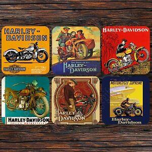 SET OF SIX 95MM COASTERS - HARLEY DAVIDSON