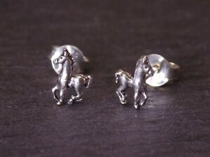 Pair of Solid 925 Sterling Silver Tiny Horse Stud Earrings Pony 8 x 6 mm