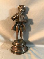 Antique Vintage Copper Figural Statue Revolutionary Accordion Player Fine Detail