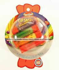 LIP SMACKER* 4pc SKITTLES Balm GRAPE+LEMON+LIME+STRAWBERRY Flavor Frenzy Set