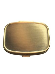 Classy Brass Small Two Section Pocket Travel Compact Vitamin Pill Gift Box Case
