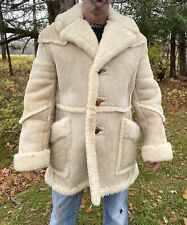 Men's VINTAGE SHEARLING COAT Piapa Marlboro Man LARGE 1970s 1980s Jacket Lamb