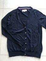 LOFT Design By ... Womens Navy Cardigan  Sweater Size 3 L 14-16 100% Merino Wool