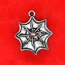 4 x Tibetan Silver Spider Web Halloween Charm Pendant Finding Bead Making