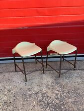 Pair Of Vintage Steel Frame Stools, Barstools Metal, Patina, Industrial Workshop