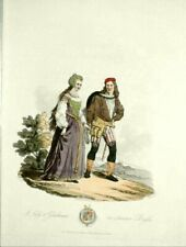 A LADY & GENTLEMAN; ANCIENT COSTUME OF GREAT BRIT,1812; Original RARE hand color