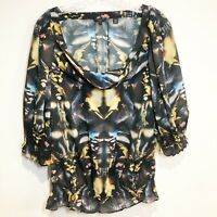 Ted Baker London Women's Size 2 Mirrored Canary Blouse Ruched 40s Style