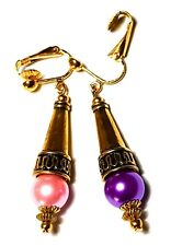 Gold Pink Purple Pearl Clip On ODD Earrings Fashion Statement Vintage Style