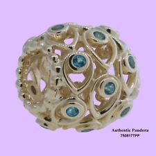 Authentic Pandora Charm 14k Ocean Treasures Deep Blue Treated Topaz 750817tpp