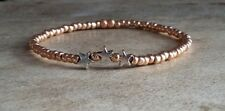 Rose Gold and Silver Three Lucky Stars Charm Bead Bracelet Stretch Stacking Gift