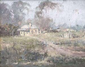 """Oil On Board Painting """"Farmhouse"""" by Sydney (Syd) Mather Hand Signed and Dated 7"""