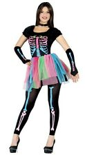 Ladies Sexy Colour Pop Skeleton Tutu Halloween Fancy Dress Costume Outfit 14-18