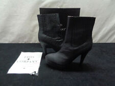 """Friis Company Black Above The Ankle Leather Boots Size Euro 38 4"""" Heel (OAY30)"""