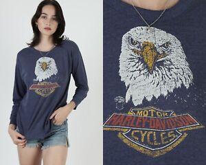 Vtg 80s Harley Davidson Motorcycles Biker Eagle Shield Long Sleeve Navy T Shirt