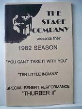 THURBER II Playbill WILLIAM WINDOM The Stage Company Benefit AURORA IL 1982