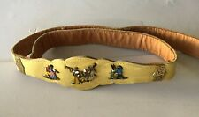 Vintage Yellow Leather Belt with Brass Folk Art Band Accents