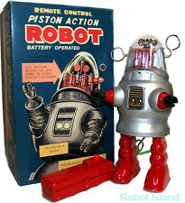 Piston Action Robby the Robot Tin Toy Battery Operated Silver
