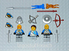 NEW LEGO Minifigure Castle crown silver Soldier boy Squire army blue lion shield