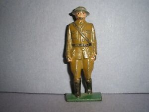BARCLAY, MANOIL, GREY IRON, TOY SOLDIER  EARLY  U.S. DOUGHBOY OFFICER  (G27) !!!