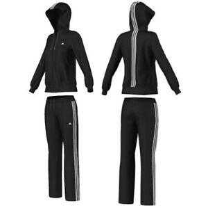 Adidas Damen Winter Trainingsanzug Warm Fleece Jogginganzug Sport Anzug schwarz