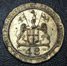 INDIA MADRAS PRESIDENCY 1/48 RUPEE 1794-COPPER GILT SPECIMEN -Impaired- KM#394b