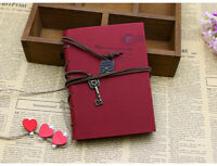 Red Vintage Retro Key String PU Leather Notebook Kraft Blank Pages Diary Plan #U
