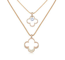 18K GOLD GP Made With SWAROVSKI CRYSTAL Double Chain NECKLACE Wedding Party