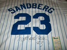 RYNE SANDBERG HOF INSCRIBED SIGNED HOME PINSTRIPED JERSEY CHICAGO CUBS