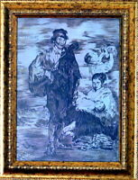 EDOUARD MANET / Authentic COLORED PENCIL DRAWING on PAPER SIGNED / Framed