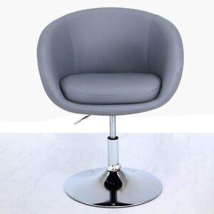 Big Living Imogen Grey Faux Leather PU Stool Swivel Chair,  W 61.5cm x D 49.5cm