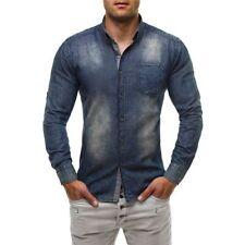 Camicie casual e maglie da uomo a manica lunga in denim blu