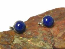 Blue  LAPIS   Sterling  Silver  925  Gemstone  STUDS  -  8 mm  -  Gift  Boxed!
