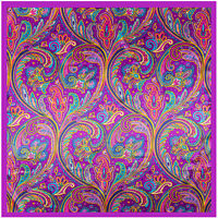 "Women's Purple Paisley Fashion Print Hijab Silky-Satin Square Head Scarf 35""*35"""