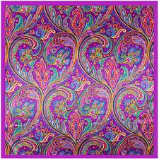 "Women's Purple Paisley Fashion Print Hijab Silk-Satin Square Head Scarf 35""*35"""