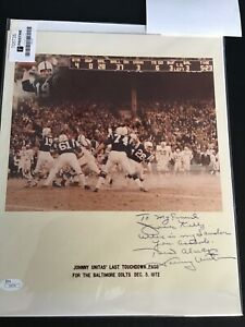 Johnny Unitas signed and matted 8x10 photo titled last touchdown pass JSA