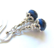 CRYSTAL Earrings ~ COBALT BLUE Tiny dangle light reflecting glass Silver Tone