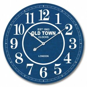 60cm Wall Clock Large Round Distressed Blue London MDF Indoor Big Gift Cafe