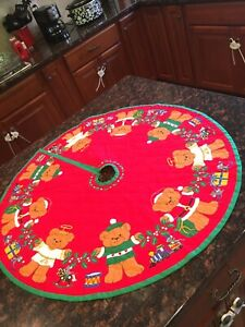 "Beary Merry Christmas Tree Skirt 36"" Fabric Panel FINISHEDWoven Vintage"