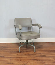 Retro Desk Chair, Swivel, Grey, Metal & Vinyl, Vintage, Padded, Arms, Office
