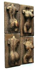 Tattooed Women Torso Wall Sculpture Bronze Nude Erotic Art Home Room Decor Gift