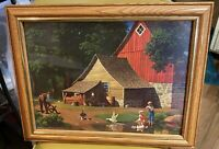 Vintage Paul Detlefsen framed print Memories Kids Duck Pond Barn 14 x 20