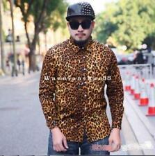 Mens Long Sleeve Shirts Leopard Print Slim Fit Stage Show NightClub Oversize