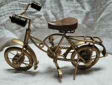 Spokes Replica Bicycle Sculpture  Gold Metal Pedals Kickstand Model Collectible