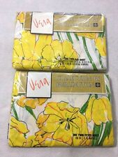 Vtg Vera Neumann Burlington Twin Flat Fitted Sheet Set Springtime Yellow Poppy