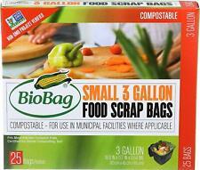 Biobag Premium Compostable Small 3 Gallon Food Scrap Bags Kitchen Home 25 Count