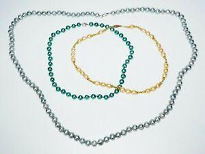 3Pc Multicolored Single Strand Pearl Necklaces w. Sterling silver Clasp(SaR)#450