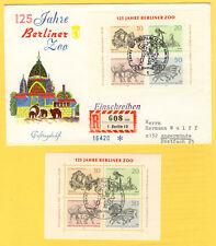 Deutsche Bundespost Berlin: Ersttagsbrief und Block 125 Jahre Berliner Zoo 1969