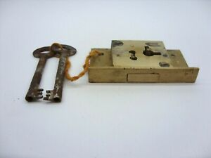 """BRASS TILL DRAWER LOCK 4 LEVER 2.5"""" X 1.4"""" COMPLETE WITH 2 KEYS"""