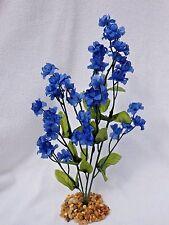 Soft Artificial Fish Aquarium Royal BLUE 11 in. silk FLOWER PLANT w/ STONE BASE